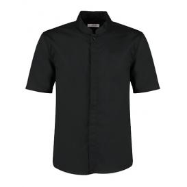 Men `Tailored Fit Bar Shirt Mandarin Collar Short Sleeve